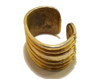 Vintage Cadoro Gold Parallel Lines Cuff