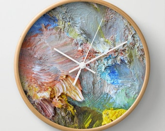 Impasto wall clock, brushstrokes, abstract photography, oil paints, apricot, grey, yellow, blue, pink, painting, painterly, palette, Greece