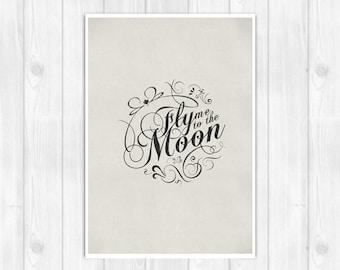 20% OFF!! Frank Sinatra Black Series Edition Print - Fly Me To The Moon - Music poster Music print Lyrics Print