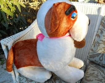 Vintage 1950s Saint Bernard Dog Huge Rare Carnival Fair Prize Benjie Stuffed Toy Dog Farmhouse Americana Primitive Folk Art Soft Sculpture