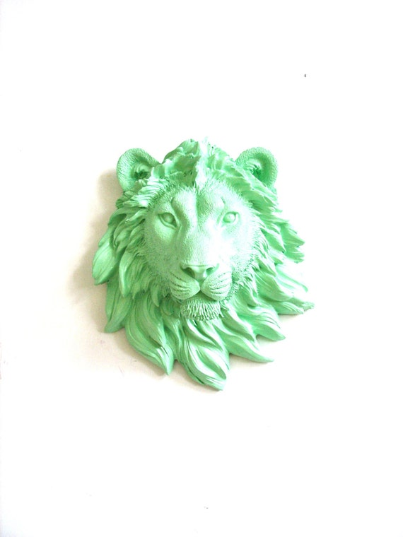 Faux Taxidermy Small Lion Head Wall Decor wall hanging home decor: Leonard the Lion in mint