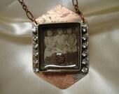 Best Friends Vintage Photo Etched Metal Necklace