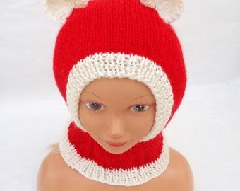 Knit Children Hat, Handknitted Santa Bear Hat, Balaclava for Children, Red and White Balaclava