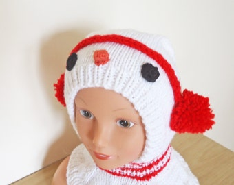 Snowman Hat, Balaclava for Children, Red and White Balaclava, Knit Snowman Hat, UK Seller