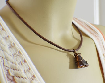 Geometric necklace brown ceramic triangle wire wrapped on brown leather cord unisex jewelry