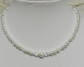 White Pearl With Swarovski Crystal Wedding Party Necklace