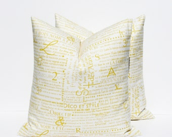 Yellow Pillows.Throw Pillow Covers 18x18 inch Pillow Set of TWO Decorative Pillow Covers. Yellow cushions Printed fabric on front and back