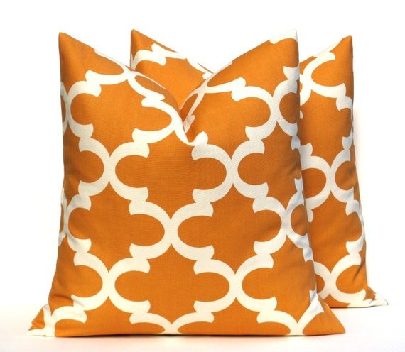 Orange Decorative Bed Pillows : Items similar to Decorative Throw Pillow Orange Throw Pillow Covers 18x18 TWO Burnt Orange ...