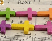 15 inch strand of Multicolour Synthetic Turquoise cross shape beads 20x30mm