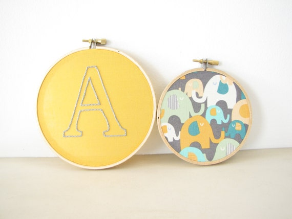 Embroidery Hoop Wall Art Set Home Decor- Custom Initial letter alphabet baby kids room nursery golden yellow grey aqua mint elephant animal