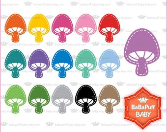 Buy 2 Get 2 Free ---- Digital Mushroom Clip Art ---- Personal and Small Commercial Use ---- BB 0717