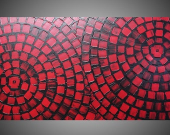 Red and Black Squares Painting on large canvas Wall art deco circles abstract painting large painting 48 x 24 Ready to Hang Made to Order