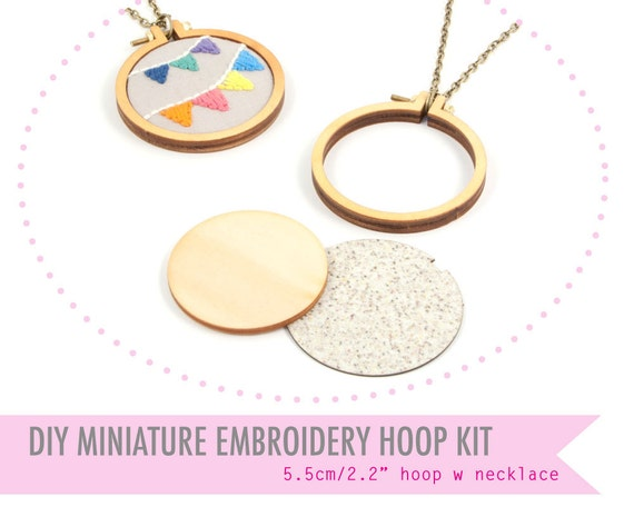 Diy miniature embroidery hoop frame with necklace by dandelyne
