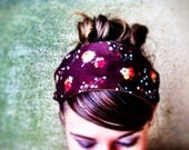 Earthy spring hair accessories for women / nature flowers buds posies / flea market fancy fabric  / blue orange brown / rustic hair wrap - jerseymaid