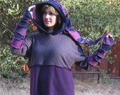 Purple Upcycled Hoodie with Pocket in Hood (X-Large)