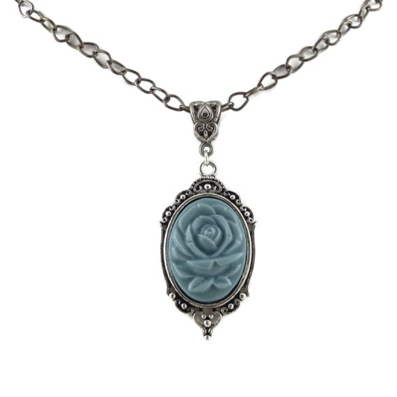 Light Blue Rose Cameo Pendant Choker Or Necklace By Arthlin