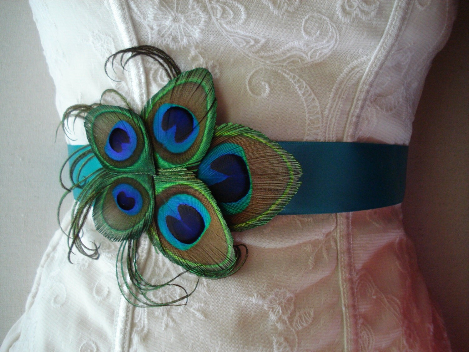 peacock wedding bridal sash or belt peacock bridesmaid sash