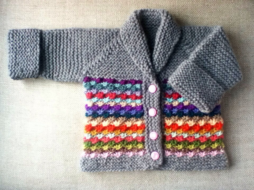 Knitting Daisy Stitch Pattern : Hand Knit Baby Daisy Stitch Cardigan Sweater in by KnitsieBitsie
