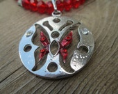 Red Butterfly Pendant and Crystal Necklace