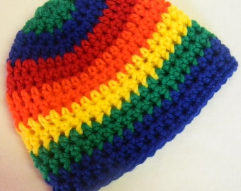 Rainbow Striped Crochet Hat - Made To Order