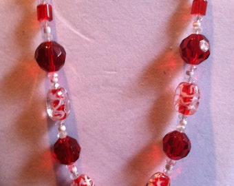 "Red and White crystal and lampeork 18"" necklace"