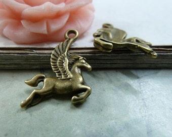 30PCS antique bronze 15x17mm Pegasus charm pendant flying horse alloy charms- W30