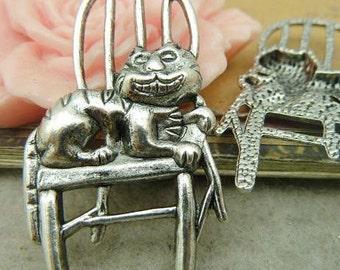10PCS antique silver 22X41mm cat chair charm pendant- WC4508