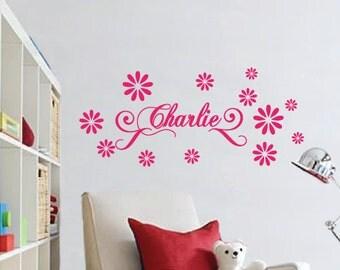 Custom Name & Daisy Vinyl Wall Sticker for Girls Removable Art Decal
