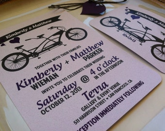 MODERN Wedding Invitations - Tandem Love Collection - Plum Purple - Pewter Gray - Pink Rose - Bike - Hearts - Recycled Paper - Eco-Friendly