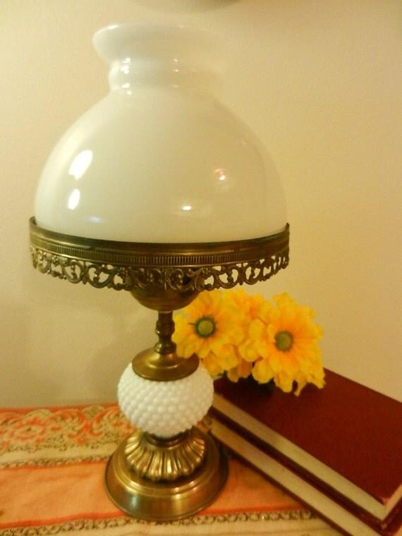 "Hob nail milk glass brass base table lamp --hurricane globe style shade -shabby cottage chic vintage decor - ornate metal work 15"", under 50"