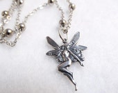 Silver Fairy Necklace, Modern Whimsical Jewelry, Dainty Necklace