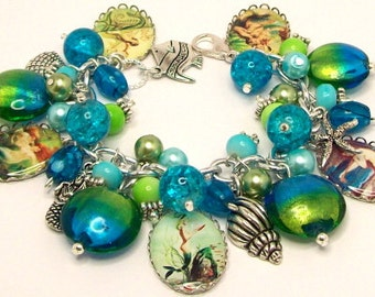 Charm Bracelet Mermaids in Aqua and Lime Picture Beaded Charms Silver Plated Cha Cha Baubles Vintage Cha Cha Bauble Beach Ocean