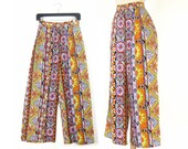 Kaleidoscope Silk Palazzo Pants - Vintage Floral Print Wide Leg Evening Slacks - Size S