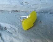 Yellow Fused Glass Stud Earrings