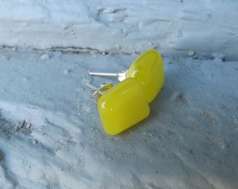 Yellow Fused Glass Stud Earrings