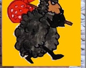 Baaa baa black sheep on yellow Kiwiana Pocket Paintings reserved for Dana
