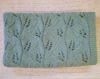 Knit baby blanket,baby girl gift,baby boy gift,baby blanket,green baby blanket,lace baby blanket,free shipping