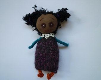 little black doll, handmade doll, knitted toy, christmas gift,little girls gift