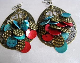 Statement Earrings - Vintage Antiqued Dangle Earrings - Red, Turquoise and Copper Earrings