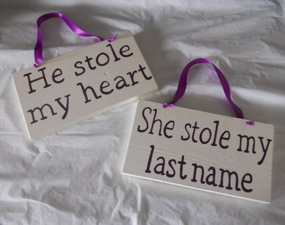 Items Similar To Ivory And Plum He Stole My Heart/ She