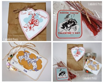 Printable Western Valentines Day Card Set - Cowboy - Cowgirl -  Classroom Valentines