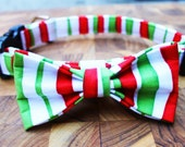 Christmas Dog bow tie and Dog collar combo in Red and Green