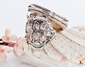 Vintage Spoon Ring - Orange Blossom Spoon Ring 1910 - Silverware Spoon Ring - Spoon Ring - Flower Spoon Ring Silverware Jewelry (mcf168)
