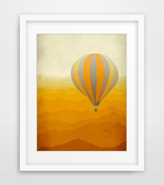 Hot Air Balloon Art Print, Nursery Decor, Children's Art, Whimsical Art - Orange and Grey