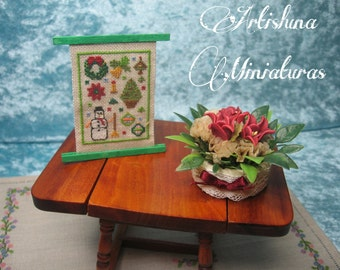 Cross stitch Christmas tapestry, christmas miniature, handmade miniature, picture miniature, xmas - Dollhouses Miniature scale 1:12