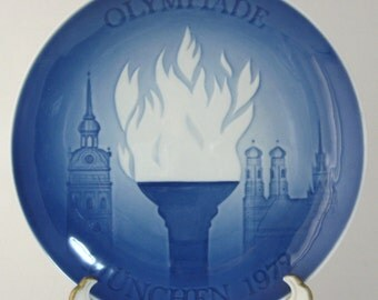 Olympics Munich 1972 Plate Bing And Grondahl Blue White Olympic Flame Munchen