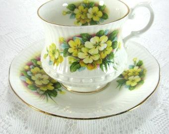 Cup And Saucer Yellow Primroses on English Bone China Vintage 1970s Teacup Tea Party