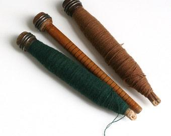Vintage INDUSTRIAL Wooden Thread Spools - Set of Three