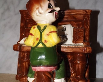 Vintage Man Playing Piano Planter