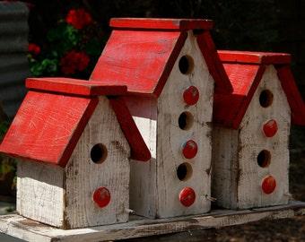 Cottage chic birdhouse, victorian birdhouse, primitive birdhouse, functional birdhouse, large set of birdhouses, Antique style birdhouse
